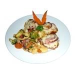 Mozzarellával grillezett rösti, grillzöldségekkel