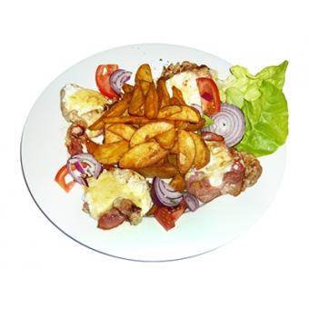 Roston szűzpecsenye baconnel és füstölt sajttal grillezve
